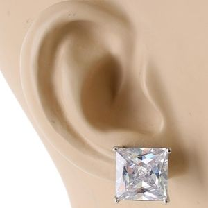 Silver 11mm Crystal Cubic Zirconia Square Earrings